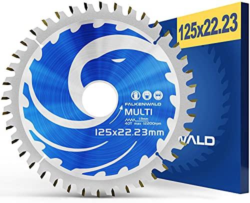 FALKENWALD ® Sägeblatt für Winkelschleifer 125mm Ideal für Holz, Alu & Kunststoffe - Sägeblatt für Flex - Flex Scheibe Holz 125 x 22,23 mm - Flex Sägeblatt 125 Holz und Alu