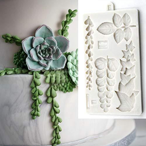 SKJH Molde de Silicona de Hojas de eucalipto de Rosas de Hiedra suculentas Molde de Arrastre Herramientas de decoración de Pasteles con Fondant Herramientas deFlores