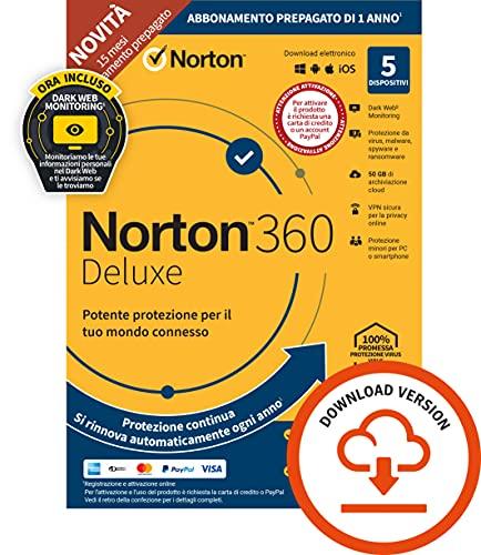 Norton 360 Deluxe 2021, Antivirus per 5 Dispositivi, Licenza di 15 mesi con rinnovo automatico, Secure VPN e Password Manager, PC, Mac, tablet e smartphone, Codice d attivazione via email