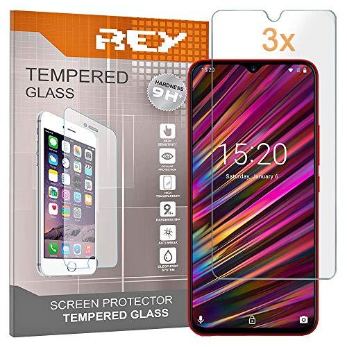 REY Pack 3X Pellicola salvaschermo per UMIDIGI F1 - F1 Play, Vetro temperato, di qualità Premium
