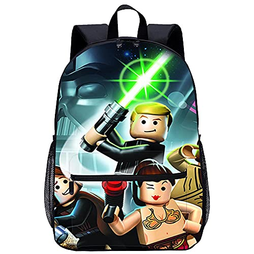 Yebaihe Zainetto 3D per bambini Zainetto Asilo -LEGO Star Wars La Saga Completada viaggio unisex di moda Borsa da scuola-Dimensioni: 45x30x15 cm/17 pollici-Zainetto per Bambini
