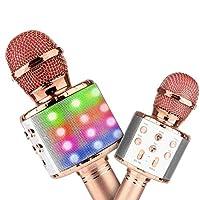 4tunate カラオケマイク ワイヤレスマイク 高音質 ポータブルスピーカー 無線マイク ワイヤレス Bluetooth ノイズキャンセリング (rose gold)