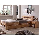 Eternity-Möbel Futonbett Schlafzimmerbett - SKARA - Massivholzbett Kernbuche Buche geölt Bett inkl. 2 x Bettkasten Liegefläche 180 x 200 cm