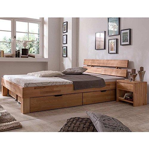 Futonbett Schlafzimmerbett Massivholzbett Kernbuche Buche geölt Bett Liegefläche 90 x 200 cm inkl 2 Schubladen