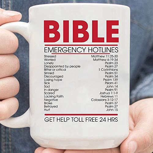 Bible Emergency Numbers Christian Verses Coffee Mug