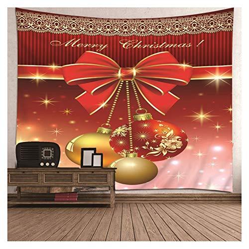 AueDsa Tapiz Poliéster,Lazo con Bolas de Navidad Tapiz Decoracion Rojo Tapiz Pared 300x260CM