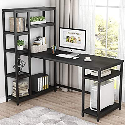 """Tribesigns 67"""" Reversible Large Computer Desk with 9 Storage Shelves, Office Desk Study Table Writing Desk Workstation with Hutch Bookshelf for Home Office, Black"""