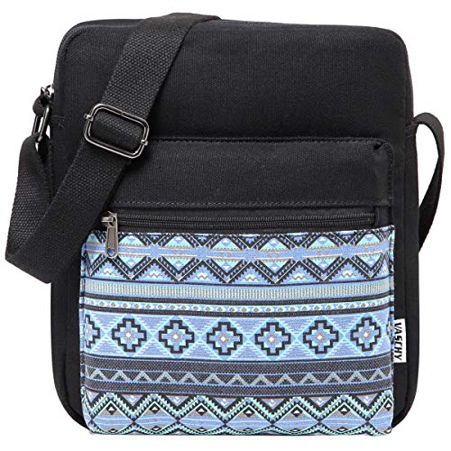 Cross Body Bag, VASCHY Water Resistant Small Canvas Messenger Bag for Women Handbag for Ladies, Girls Lightweight Shoulder Bag with Inner Water Bottle Pocket