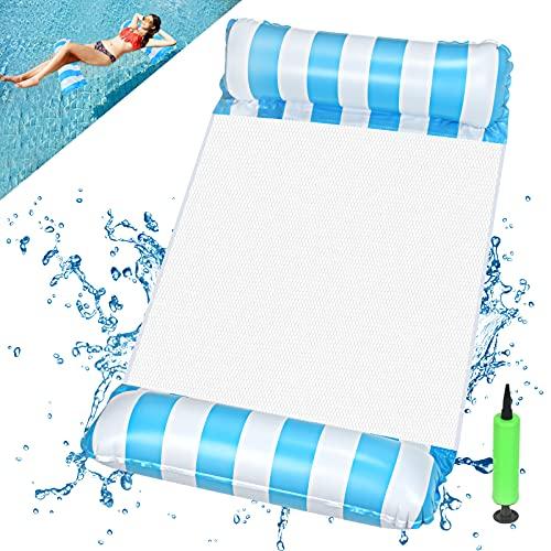 EKKONG Wasserhängematte Aufblasbare, Luftmatratze Pool Aufblasbares Schwimmbett Wasser Hängematte Float Badehängematte 4-in-1 für Erwachsene und Kinder Sommer Party Schwimmbad Meer Freien