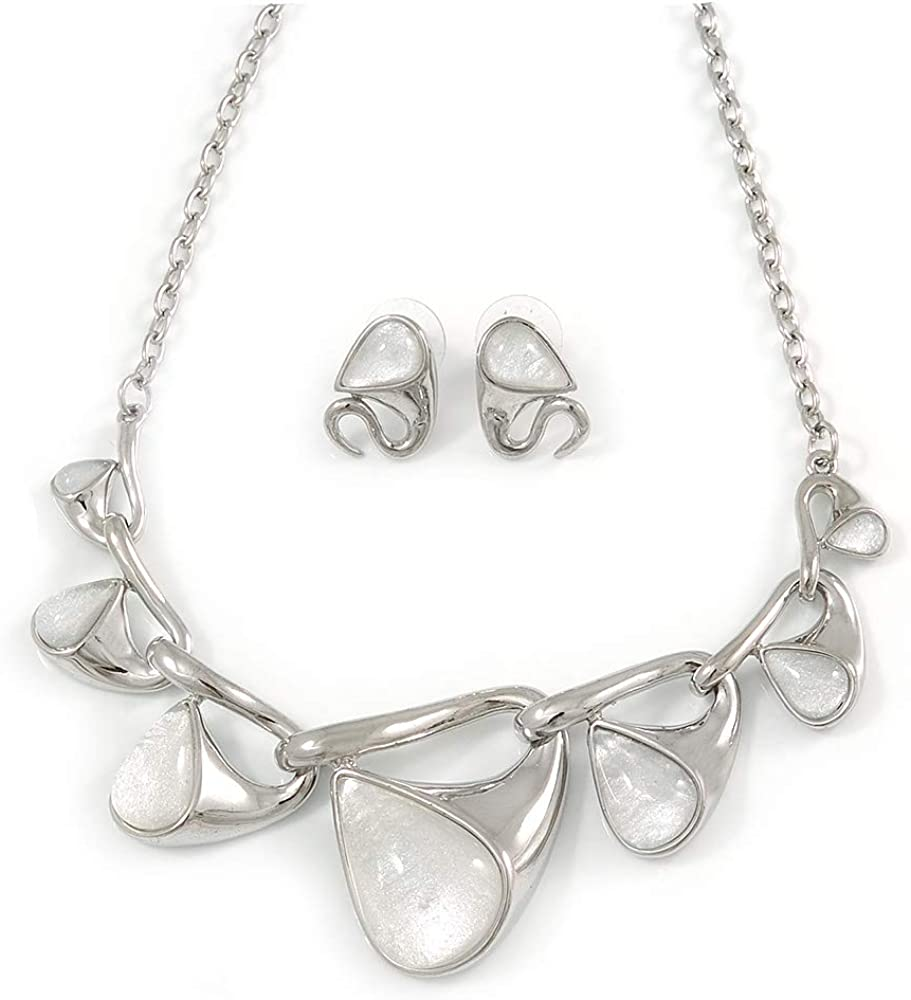 Abstract Milky White Glass 'Teardrops' Necklace & Stud Earrings in Rhodium Plated Metal - 41cm L/ 8cm Ext - Gift Boxed