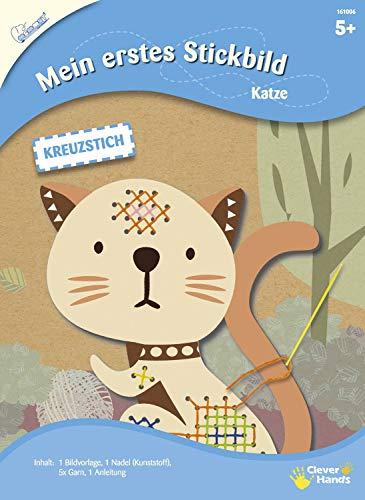 MAMMUT 161006 - Mein erstes Stickbild, Tiermotiv, Katze, Komplettset mit Bildvorlage in Tierform, Nadel (Kunststoff), 5x Garn und Anleitung, Bastelset für Kinder ab 5 Jahre