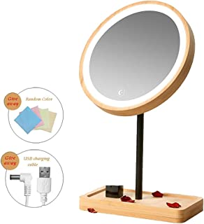 YXZQ Makeup Mirror, LED Daylight Bamboo Wood Lighted Travel Vanity Mirror 3 Levels Adjustable Brightness USB Rechargeable Touch Screen Switch, 360 Degrees Free Rotation