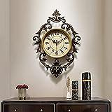 21 'x 14' Color de Bronce Retro Reloj de Pared Ovalado Grande con Esqueleto de Lujo rodeado Relojes de Cuarzo de Filigrana silenciosa para Sala de Estar