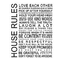 家族のルール幸せ愛アートフィルムプリントポスター家の壁の装飾リビングルームの寝室の装飾の写真キャンバスに印刷60x80cmフレームなし