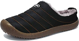TO PACE Men's House Slippers Winter Slip on Clogs Indoor Outdoor Anti-Skid Shoes Plush Lining