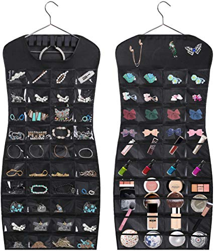 MISSLO Hanging Jewelry Organizer 80 Clear Pockets & 7 Hook Loops Storage for Storing Jewelries, Earrings, Necklaces(Black)