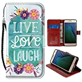 SoLucky Moto G5 Plus Wallet Case Live Love Laugh PU Leather with Kickstand and Card Slots Wrist Strap Flip Case for Moto G5 Plus 1 Pack