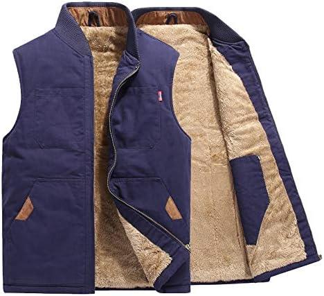 LYLY Vest Women Autumn Winter Men Vest Coat Warm Sleeveless Jacket Casual Men Vest Coat Fleece Army Green Waistcoat Big Size 6XL Vest Warm (Color : Blue Plus, Size : 4XL)