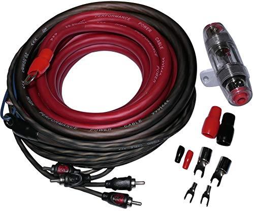 AERZETIX: Kit câbles câblage pour Montage amplificateur ampli Auto Alimentation 10mm2 Son RCA fusible