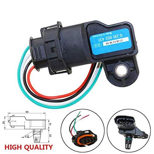 Sensor 0281002437 Boost MAP sensor en forma for el Alfa Romeo 147 156 159 166 en forma for el Brera GT Giulietta Mito araña en forma for el Volvo S60 V70 con el enchufe del conector