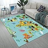 Manerly Area Rugs Animal World Map Print Large Floor Mat for Living Room Bedroom 7' x 5' Non-Slip Rugs Home Decor Carpet