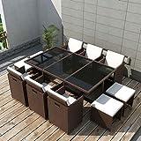 Tidyard Conjunto Muebles de Jardín de Ratán 27 Piezas con Taburetes Sofa Jardin Exterior Sofas...