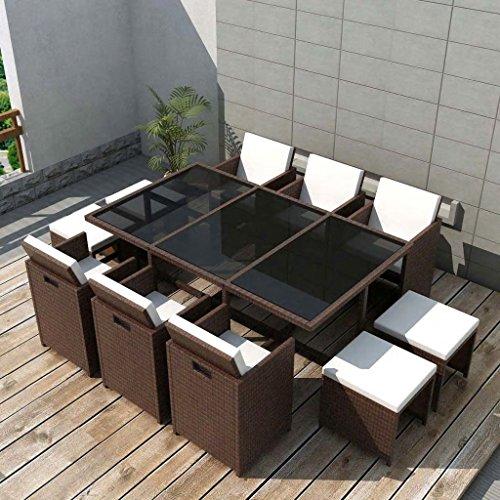 Tidyard Conjunto Muebles de Jardín de Ratán 27 Piezas con Taburetes Sofa Jardin Exterior Sofas Exterior Ratan Conjunto Jardin para Jardín Terraza Patio en Poli Ratán Marrón