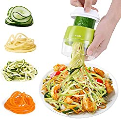 【4 in 1 Spiralizer】 Create veggie noodles in the shape of fettuccine, spaghetti and ribbons in minutes with this compact spiral cutter which helps you experiment with a variety of fresh and fun options like veggie lasagna, homemade curly fries, and ...