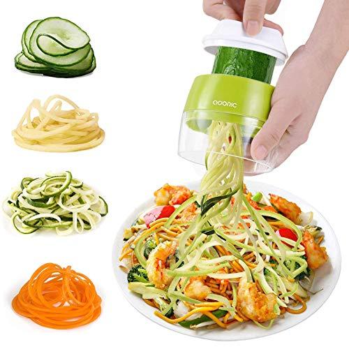 ADORIC Handheld Spiralizer Vegetable Slicer, 4 in 1 Heavy Duty Veggie Spiral Cutter - Zucchini Noodle & Veggie Pasta & Spaghetti Maker for Low Carb/Paleo/Gluten-Free Meals (Green)