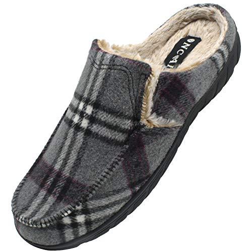 ONCAI Zapatillas de Casa para Hombre-Tartán Pantuflas Hombre de Invierno Memory Foam-Antideslizante Tweed Mocasines Zuecos Pantufla de Hombre con Suave Vellón-Lana Hombre Zapatos Intemperie Gris