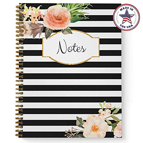 Softcover Classic Floral Notes 8.5' x 11' Spiral Notebook/Journal, 120 College Ruled Pages, Durable Gloss Laminated Cover, Gold Wire-o Spiral. Made in the USA