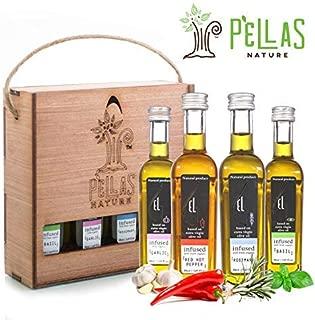 Organic herb Infused Olive Oil Set | Finishing Extra Virgin Olive Oil | Basil | Garlic | Rosemary | Red Hot Pepper | Wooden Gift Set | Single Origin Greek oil | 4 X 1.7oz French Bottles