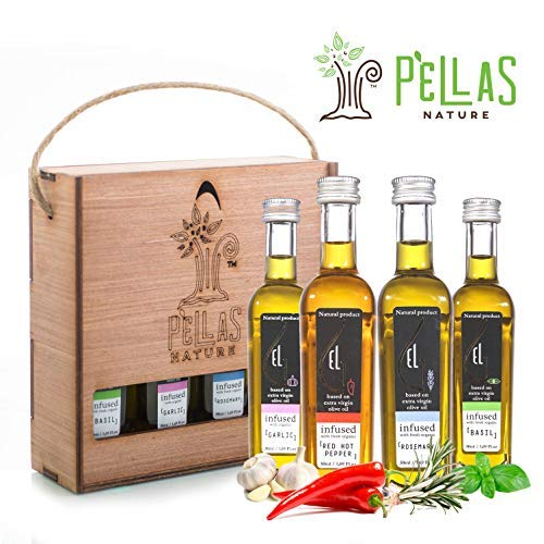 Pellas Nature International Award Winner | Fresh Organic Infused Olive Oil Set | Finishing Oil | Basil | Garlic | Rosemary | Red Pepper | Wooden Gift Set | Single Origin Greek | 4 X 1.7oz Bottles