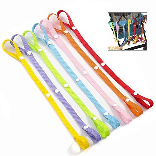 LHKJ 7 Stück Anti-Drop Strap Baby Spielzeug, Schnullerkette Baby Drop-Babyflasche Toy Kleiderbügel Gürtel mit für Kinderwagen