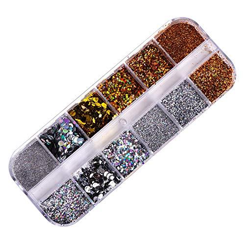 Anself 12 pièces ongles paillettes flocons Sequin or argent bricolage poudre à ongles pour acrylique ongles outils Nail Art manucure décoration