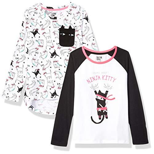 Spotted Zebra 2-Pack Long-Sleeve Novelty T-Shirts Fashion, Ninja Kitty, S