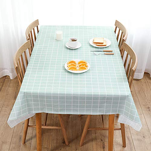 ACTTGGJ Wipe Clean Rectangular Tablecloth Waterproof PVC Plastic Tablecloth Dining Table Cover Protective Cover Can be used for Kitchen Picnic Indoor Outdoor Children Party (Turquoise, 140x180 cm)