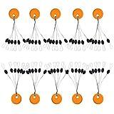Bobina de goma para pesca, 20 unidades, 6 en 1, con anillo de plástico, color naranja