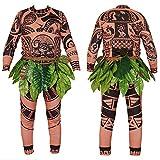 Wide.ling Moana Maui Tattoo Camiseta/Pantalones Adultos Hombres Mujeres Cosplay Disfraz con Hojas Falda (Marrón, Papa L)