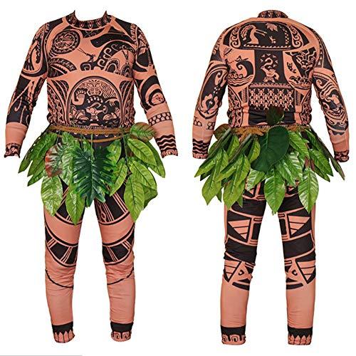 Wide.ling Moana Maui Tattoo Camiseta/Pantalones Adultos Hombres Mujeres Cosplay Disfraz con Hojas Falda (Marrón, Papa XL)