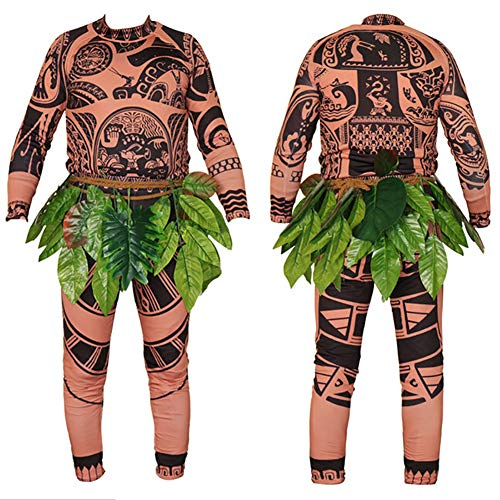 Wide.ling Moana Maui Tattoo Camiseta/Pantalones Adultos Hombres Mujeres Cosplay Disfraz con Hojas Falda (Marrón, Papa 2XL)