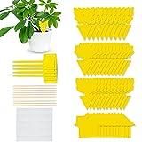 COXTNBIO 48PCS Trampa Moscas, Atrampa Moscas Insectos Amarillo de Doble Cara Trampa de Moscas enchufables Placas para Atrapar Moscas, Insectos Voladores, Ideal para Plantas en balcón o en jardín