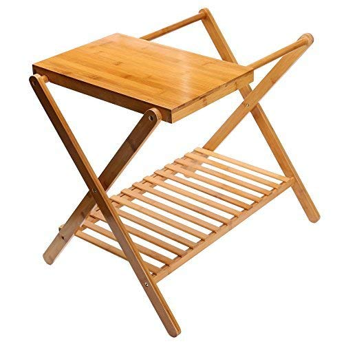 UNKU Folding Luggage Rack with Storage Shelf, Bamboo Suitcase Luggage Stand for Bathroom, Bedroom, Living Room, Guest Room, Natural Color