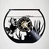 XYVXJ Reloj de Pared de Vinilo con Peces de Acuario Creativo Reloj de Pared Art Deco Dormitorio 12 Pulgadas Regalo sin luz LED