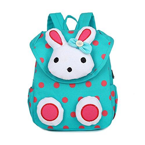 MCUILEE Süß Kaninchen Mini Rucksack Kinder Babyrucksack Kindergartenrucksack Backpack Schultasche Kleinkind Mädchen Jungen,Grün