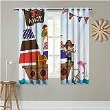 Jktown Ahoy - Cortinas Opacas para Dormitorio Infantil, diseño de Pirata con Texto en inglés It's a Boy, para oscurecer la habitación, 160 x 183 cm, Multicolor