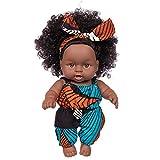 Poupée Africaine Curly 8 Pouces - Poupée Noire Afro-américaine Réalistes Bébé Poupées Poupée Poupon Réaliste Bébé Reborn Jouets pour Enfants
