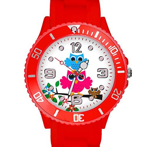 Taffstyle Kinder Armbanduhr Silikon Sportuhr Bunte Sport Uhr mit Blumen Eulen Familie Motiv Analog Quartz Little 34 mm Rot