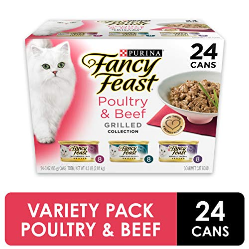 Purina Fancy Feast Gravy Wet Cat Food Variety Pack, Poultry & Beef Grilled Collection - (24) 3 oz. Cans