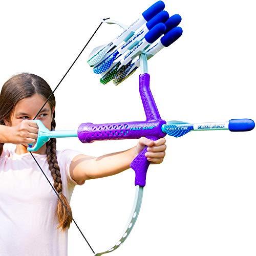FAUX BOW - Shoots Over 100 Feet - Foam Bow & Arrow Archery Set - Purple, Turquoise & Gray (Fluorite)
